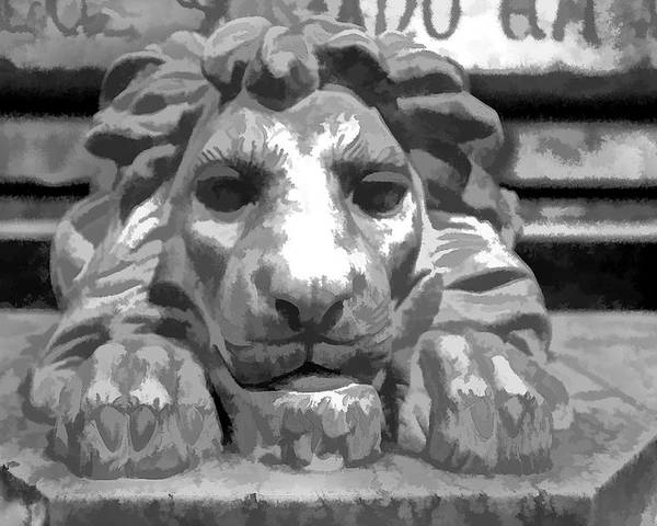 Lion Poster featuring the photograph Lion Statue Guard by Indiana Zuckerman