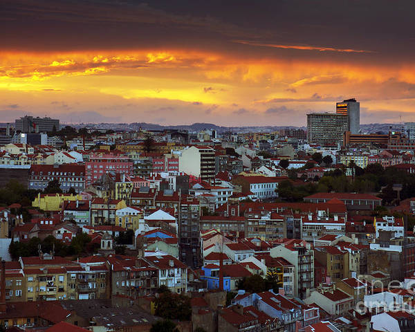 Ancient Poster featuring the photograph Lisbon At Sunset by Carlos Caetano