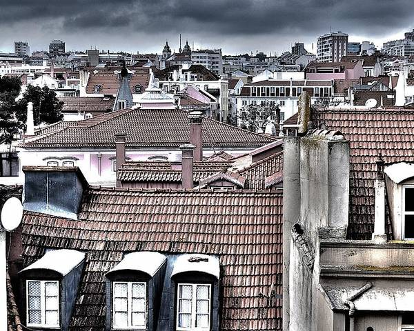 Lisbon Rooftops Poster featuring the photograph Lisbon Rooftops I by Marco Oliveira