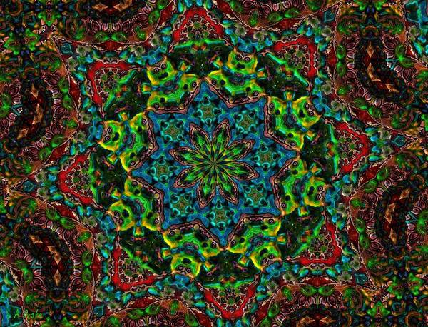Kaleidoscopes Poster featuring the digital art Little Green Men Kaleidoscope by Alec Drake