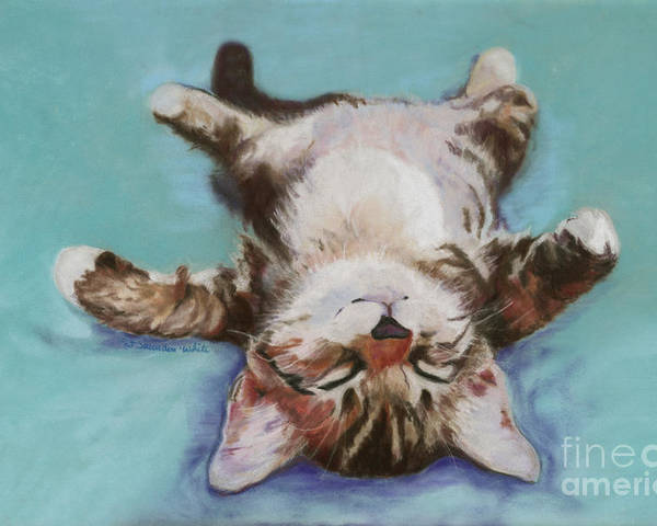 Cat Painting Poster featuring the pastel Little Napper by Pat Saunders-White