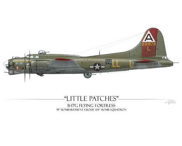 Aviation Poster featuring the digital art Little Patches B-17 Flying Fortress - White Background by Craig Tinder