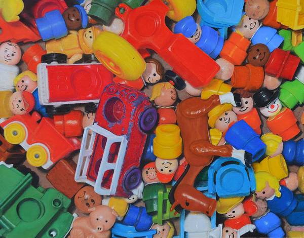 Toy Poster featuring the painting Little Peoples by Joanne Grant