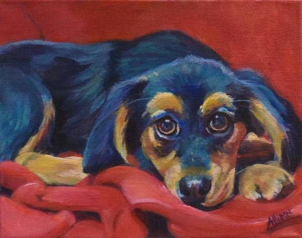 Puppy Painting Poster featuring the painting Little Red by Stephanie Allison