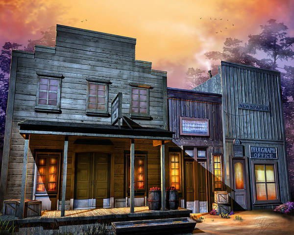 Western Poster featuring the digital art Little Town by Joel Payne