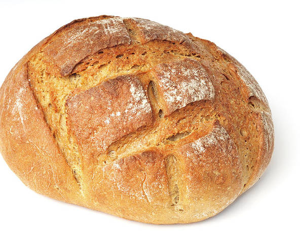 Bread Poster featuring the photograph Loaf Of Bread On White by Matthias Hauser