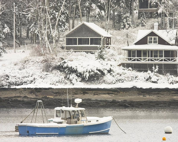 Tenants Harbor Poster featuring the photograph Lobster Boat After Snowstorm In Tenants Harbor Maine by Keith Webber Jr