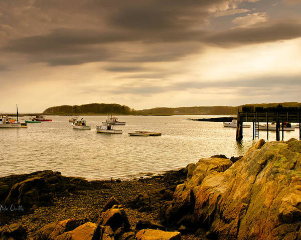 Atlantic Ocean Poster featuring the photograph Lobster Boats Cape Porpoise Maine by Bob Orsillo