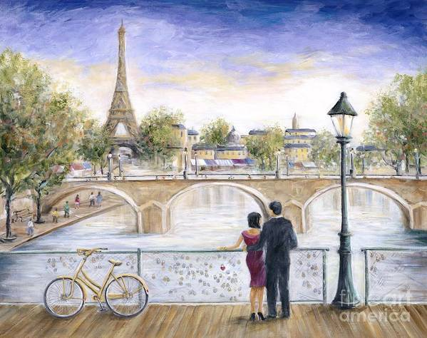 Paris Poster featuring the painting Locked In Love by Marilyn Dunlap