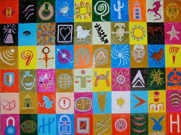 Poster featuring the painting Logos and symbols by Biagio Civale