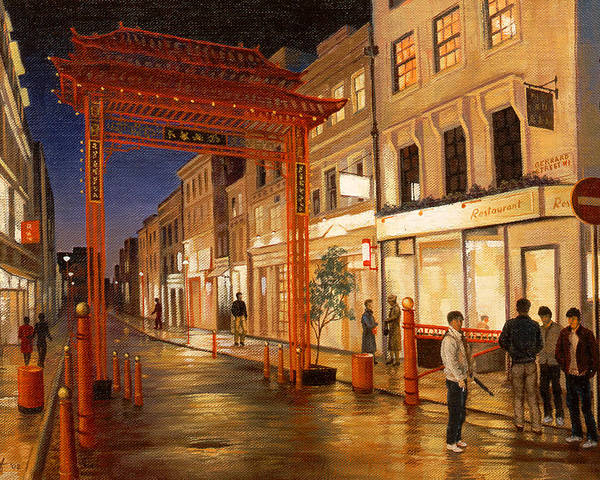 Landscape Poster featuring the painting London Chinatown by Paul Krapf