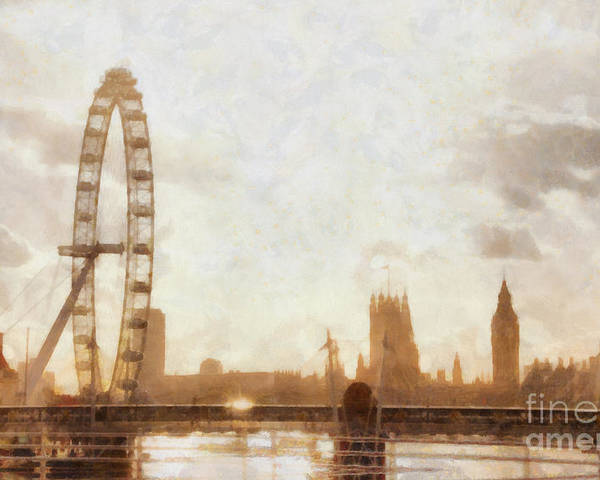 London Poster featuring the painting London Skyline At Dusk 01 by Pixel Chimp