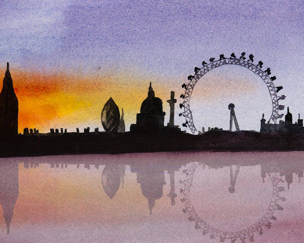 London Skyline Poster featuring the painting London Skyline At Sunset by Donna Walsh