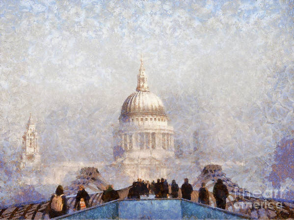London Poster featuring the painting London St Pauls In The Fog by Pixel Chimp