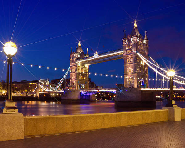 British Poster featuring the photograph London Tower Bridge By Night by Melanie Viola