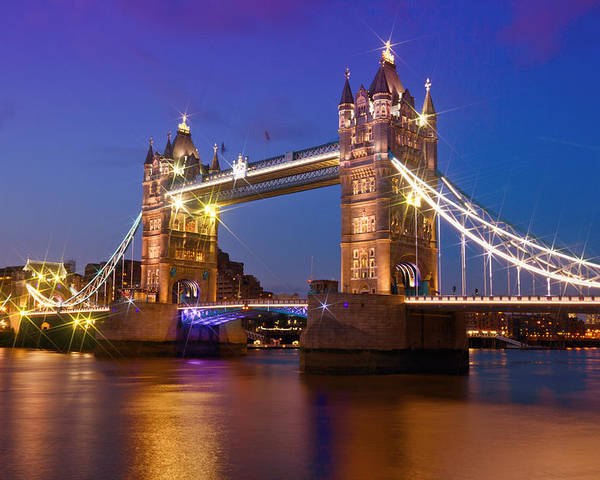 British Poster featuring the photograph London - Tower Bridge During Blue Hour by Melanie Viola