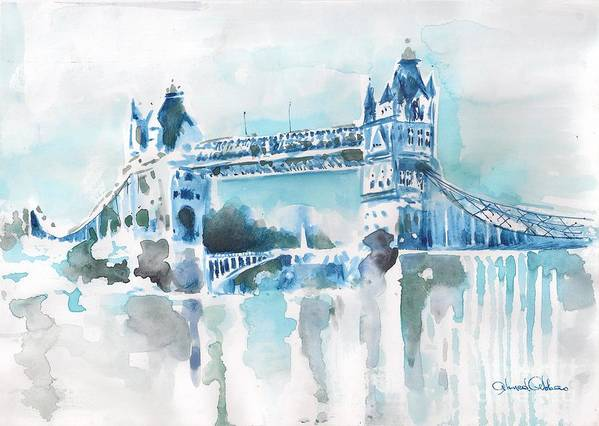 Cityscape Paintings  Poster featuring the painting Londres- Tower Bridge by Ahmed Abbas