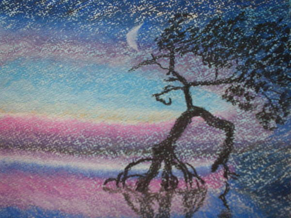 Landscape Poster featuring the pastel Lone Dancer By Moonlight by Warren Thompson