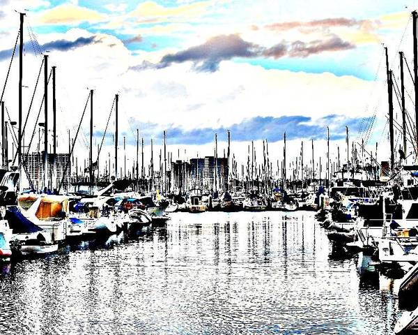 Marina Poster featuring the photograph Long Beach Marina / Colored Pencil Effect by Robert Butler
