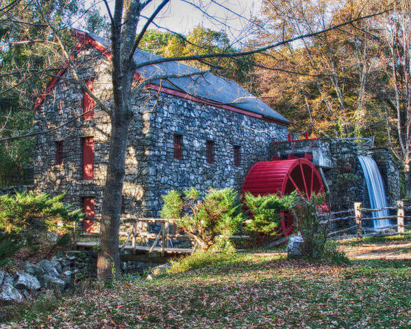 autumn Foliage New England Poster featuring the photograph Longfellow's Wayside Inn Grist Mill In Autumn by Jeff Folger