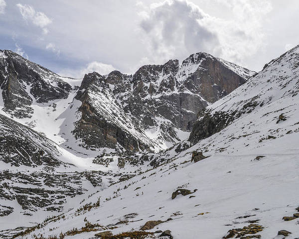 Longs Poster featuring the photograph Longs Peak Winter by Aaron Spong