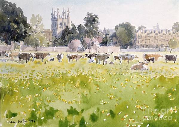 College Poster featuring the painting Looking Across Christ Church Meadows by Lucy Willis