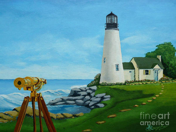 Lighthouse Poster featuring the painting Looking Out To Sea by Anthony Dunphy