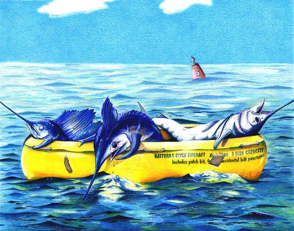 White Marlin Poster featuring the drawing Loran Coordinates Available by Karen Rhodes