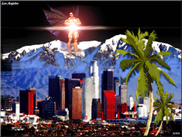Los Angeles Poster featuring the digital art Los Angeles by Daniel Janda