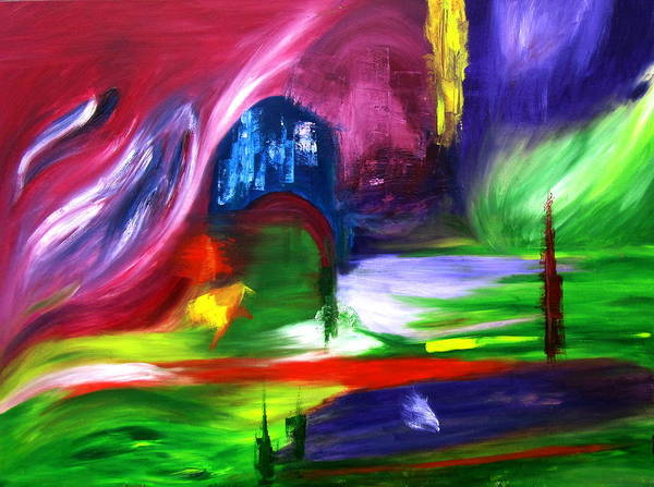 Northern Lights Abstract Poster featuring the painting Lost In Northern Lights by ColorAndCommotion By Kritka