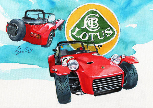 British Open Sport Car Poster featuring the painting Lotus Seven by Yoshiharu Miyakawa