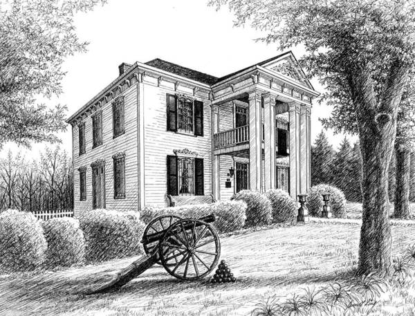 Battle Of Franklin Poster featuring the drawing Lotz House by Janet King