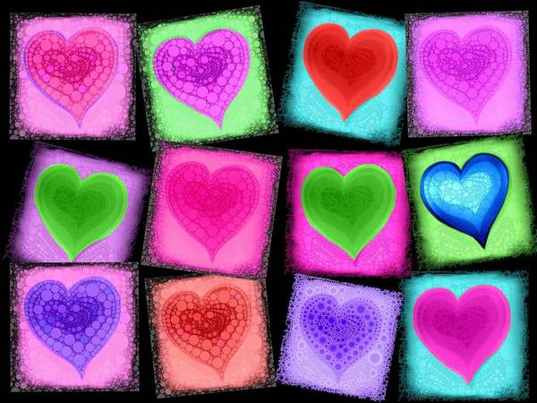 Hart Poster featuring the digital art Love All Around by Cindy Edwards