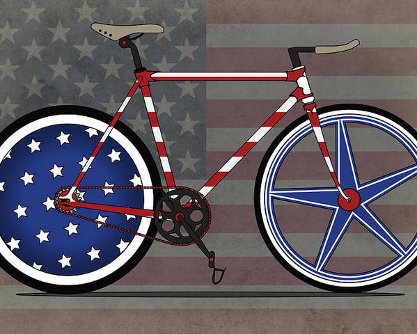 Bike Poster featuring the digital art Love America Bike by Andy Scullion