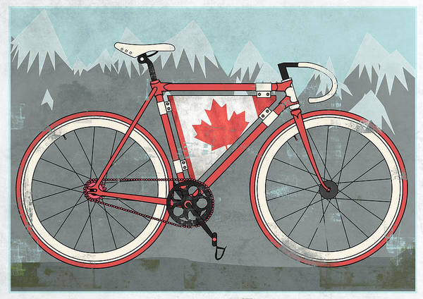 Canada Poster featuring the digital art Love Canada Bike by Andy Scullion