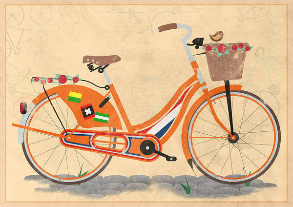 Holland Poster featuring the digital art Love Holland Love Bike by Andy Scullion