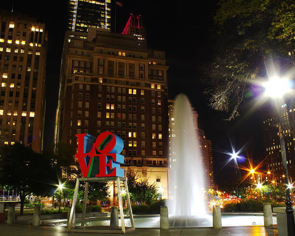 Philadelphia Poster featuring the photograph Love Park by Jacob Leff