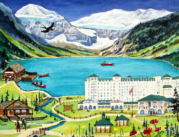 Lake Louise Poster featuring the painting Lovely Lake Louise by Virginia Ann Hemingson