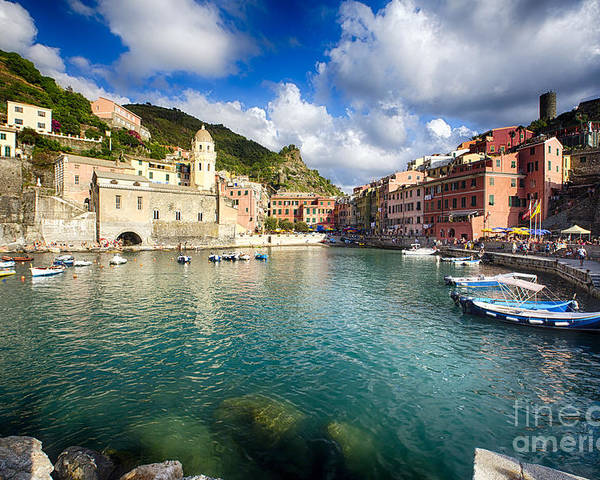 Cinque Terre Poster featuring the photograph Low Angle View Of Vernazza Harbor by George Oze
