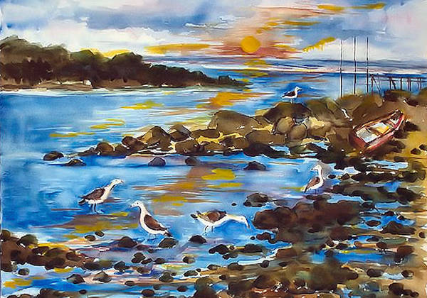 Seashore Poster featuring the painting Low Tide At West Neck Beach by Siona Koubek