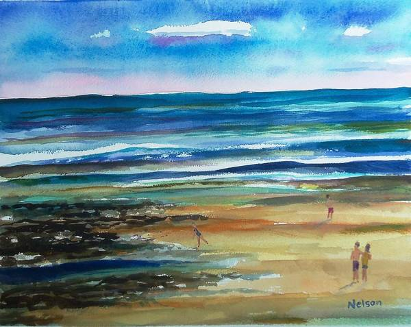 Low Tide Poster featuring the painting Low Tide Wells Beach Maine by Scott Nelson