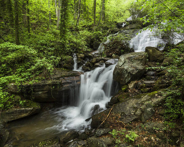 Appalachia Poster featuring the photograph Lower Amicalola Falls by Debra and Dave Vanderlaan