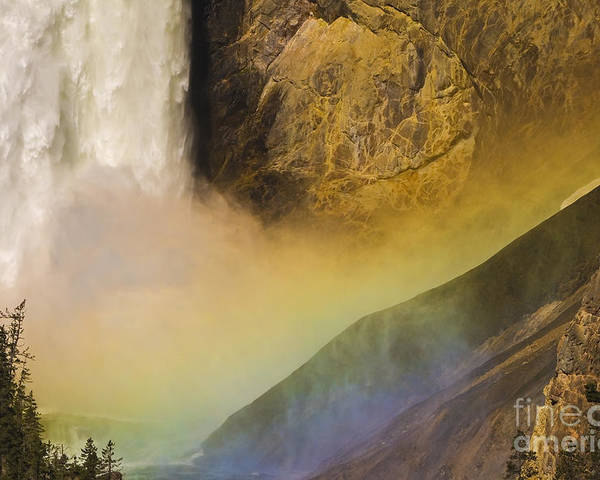 Yellowstone National Park Poster featuring the photograph Lower Falls Rainbow - Yellowstone by Sandra Bronstein