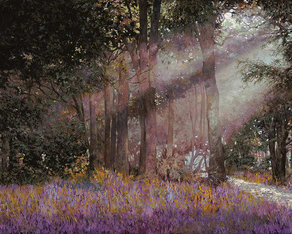 Wood Poster featuring the painting Luci by Guido Borelli