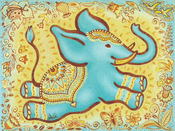 Lucky Elephant Turquoise Poster featuring the painting Lucky Elephant Turquoise by Judith Grzimek