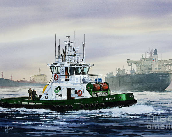 Tugboat Print Poster featuring the painting Lucy Foss by James Williamson