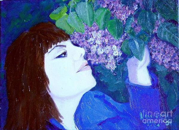 Lilacs Poster featuring the painting Lush Lilacs by Laurie Morgan