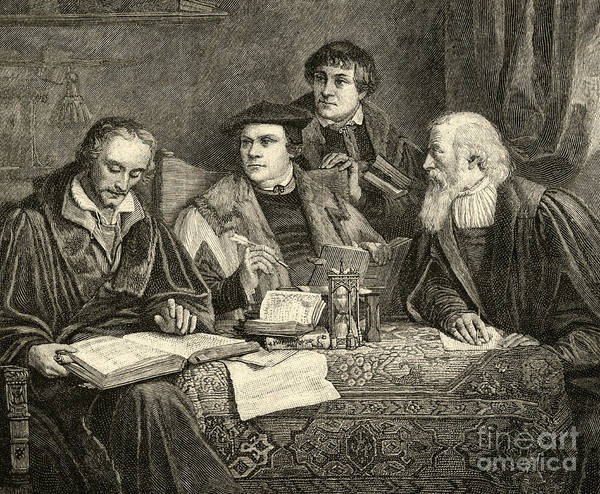 Martin Luther; Excommunicated In 1520; Protestant; Protestantism; Lutheran Church; Revolt; Priest; 16th; Pupils; Pupil; Teacher; Protestants; Male; Portrait; Translators; Translation; Interior; Discussion Poster featuring the drawing Luther Melancthon Pomeranus And Cruciger Translating by English School
