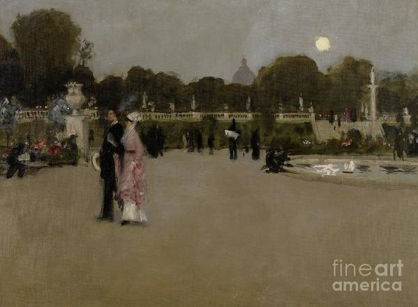 Luxembourg; Paris; Parisian; France; French; Europe; European; Garden; Gardens; Park; Parks; Twilight; Evening; Dusk; Figures; Couple; Arm In Arm; Date Poster featuring the painting Luxembourg Gardens At Twilight by John Singer Sargent