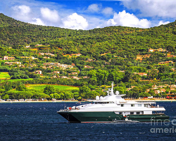 Yacht Poster featuring the photograph Luxury Yacht At The Coast Of French Riviera by Elena Elisseeva